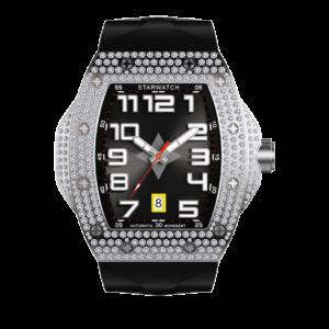 montre tonneau diamant pour homme automatique avec bracelet noir