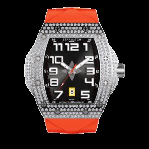 Montre tonneau diamant pour homme avec bracelet de montre orange vue de face