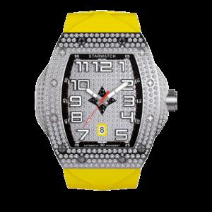 montre diamant pour homme avec diamant, mouvement suisse et bracelet jaune