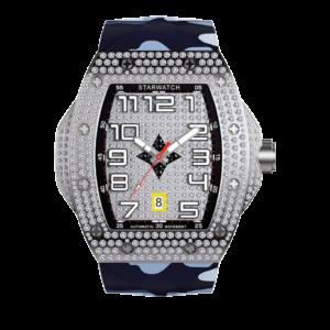 montre tonneau diamant pour homme avec bracelet camouflage bleu mer