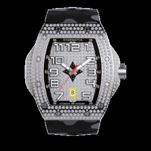 montre tonneau tout en diamant pour homme avec bracelet camouflage noir