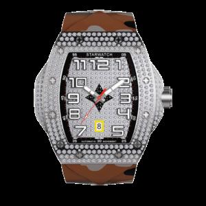 montre tonneau en diamant pour homme avec bracelet camouflage sable