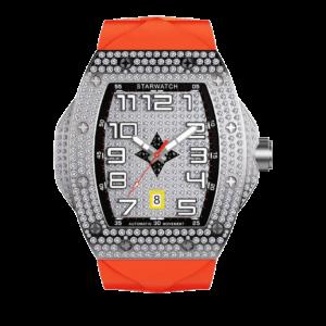 montre tonneau pour homme tout en diamant avec bracelet orange