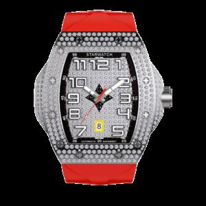 montre tonneau pour homme en diamant avec bracelet rouge