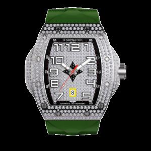 montre tonneau pour homme tout en diamant avec bracelet de montre kaki