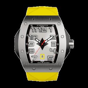 montre tonneau en acier pour homme avec bracelet de montre jaune