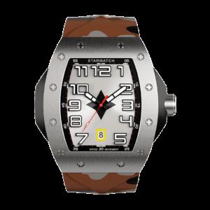 montre tonneau pour homme en acier avec bracelet de montre camouflage sable